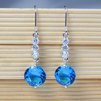 Fashion Topaz Earrings For Women High Quality Blue Cubic Zirconia Crystal Drop Earrings Sparking Party Jewelry