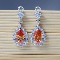High Quality New Teardrop Cubic Zirconia Dangle Drop Earring big Crystal Wedding Earrings Bling Sparking Party Jewelry 1317-2