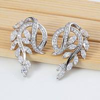 Wholesale  Cubic Zirconia Earrings Fashion Silver drop Earrings For Women Brincos Bijoux Gold Jewelry 1533-2