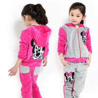 Female big boy autumn set casual medium-large child velvet sports set big boy women's autumn 2013