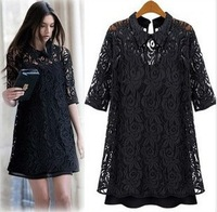 XXXL! Free shipping 2014 summer autumn hot sale Fashion dress Chiffon Dresses with Lace and sleeve two-piece doll lapel Dress