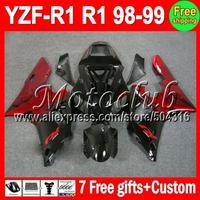 7 gifts Red flames black For YAMAHA 98-99 YZF R1 98 99 1998 1999 YZF-R1 YZFR1  MC98769 Dark red YZF1000 YZF 1000 Full Fairing