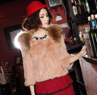 autumn -summer Top natural fur coats women outerwear  quality real rabbit fur coat long ten brand  fashion lace jacket big size