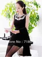 Free Shipping Women's Fashion Black Party Dress Lady Sequin Vintage Mini Dress  Formal Evening Dress 2013