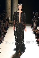 Free shipping Elie saab dress fashion dress dress selena gomez floor length lace sheath long sleeve dresstaylor swift