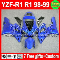 ALL Blue HOT ! 7 gifts For YAMAHA 98-99 YZF R1 98 99 1998 1999 YZF-R1 YZFR1  MC98779 YZF1000 YZF 1000 Glossy blue Full Fairing