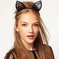 Free shipping1pcs Lady gaga lace cat bunny ears veil hair bands headbands for bridal wedding Christmas halloween party