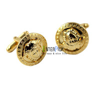 Guaranteed 100% Brand New hot sale high quality vintage Golden round Button shape steel Cufflinks men's gift free shipping