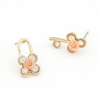 Fashion korean style sweet  golden  key AND  lock asymmetric stud earrings  studded crystal personality  +gift (jewelry box)