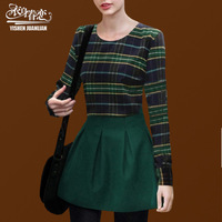FREE SHIPPING Clothing winter women's long-sleeve woolen plaid twinset set one-piece dress autumn and winter basic short skirt