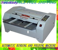 Most Free shipping Automatic booklet making machine/booklet maker stapler /binding and foding machine