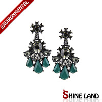 Free Shipping New Arrival Women Fashion Ethnic Shiny Colorful Resin&Rhinestone Pear Shape Statement Drop Earrings Jewelry