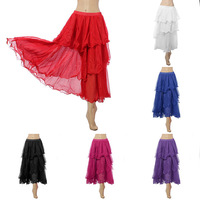 New Charming Spiral Skirt Circle 3 Layers Elegant Belly Dancing Dance Costumes 6 Colors To Choose