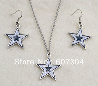 Fashion gold  plated Dallas cowboys enamel necklace and earrings jewelry set,10 sets a lot,free shipping