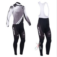 Free shipping fashion white&black fox cycling long SLEEVES JERSEY+bib pants/Bicycle Wear/Biking Clothes