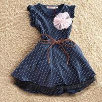 Retail 2015 New Latest Design Girls Dress Flowers 100% Cotton Dot Sleeveless With Belt Dot Fashion Princess Dress Free shipping