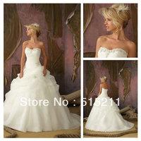 For Sale Sweetheart Organza Layered Chapel Train Ball Gown Wedding Dresses 2015 Romantic Vestidos De Novia