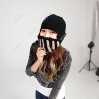 Fashion Unisex Crochet Knit Beanie Ski Roman Knight Warm Hat Gladiator Mask Wool Cap