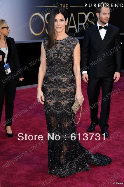 Free Shipping Inspired 2013 Sandra Bullock 85th Oscar Academy Awards Elegant Black Lace Mermaid Red Carpet Celebrity Dresses(China (Mainland))