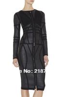 DHL free shipping Top Quality 2013 New Fashion Hot Selling long sleeve Luxury Noble PU Zipper Bandage Dress