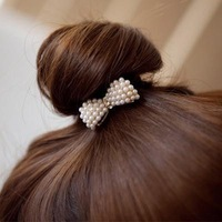 3 Min Order $6(Mix Order) H015Free Shipping, New Sweet White Pearl Rhinestone Small Bow Knot Girls Woman Hairbands