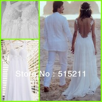 Real Sample Lace And Chiffon See Through Weddings &Events Gowns Dresses 2014 New Arrival Vestido De Novia