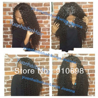 "best 6a quality cheap price 20"" #1b Kinky curly human brazilian hair lace front wig for african fast& free shipping"