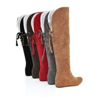 Fashion winter boots flat elevator scrub snow boots flat heel knee-length plus size boots