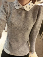 Free shipping! elegant with diamond small square collar sweater,women's sweater