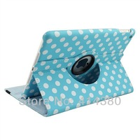 50pcs/lot, Polka Dots Colorful Leather Cover PU Case for iPad Mini Mini 2 7.9 inch 360 Degree Rotating
