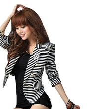 4 Size Fashion Hot Womens Short Coat Strip Jacket Suit Blazer Crop OL Tops Striped Black & White S-XL(China (Mainland))