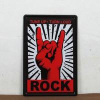 Turn up Turn Loud ROCK Bat Metal Decor Wall Art Vintage Rustic Bar Shop D-33