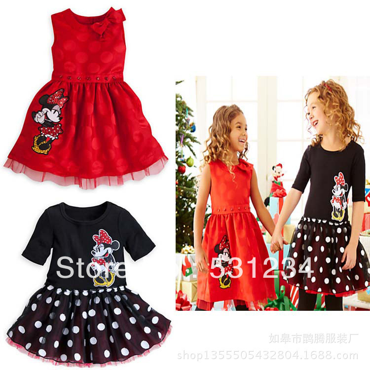 2013 new New Year Dress red girls princess dresses Lovely girl Minnie dress TUTU dress for summer,5pcs/1lot,free shipping GQ-307(China (Mainland))