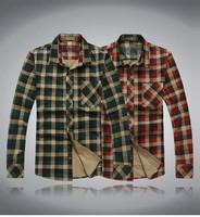 New  2014 Autumn-Summer Men Long Sleeve Plaid Casual Cotton shirts  Big size M L XL XXL XXXL XXXXL