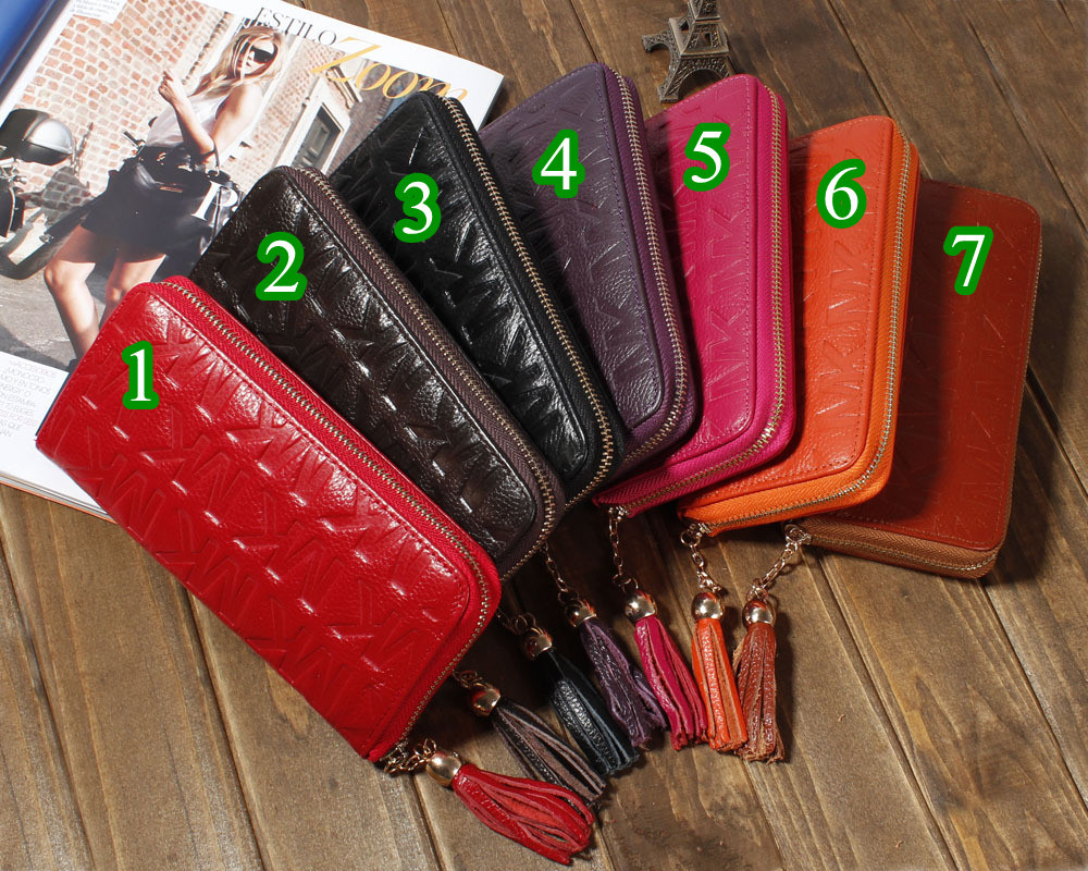 2013 New Designer Handbag Leather Wallet Fashion Lady Purse with Zipper Freeshipping(China (Mainland))