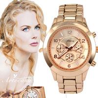 Free Shipping,New Luxury Famous Branded,3 Colors Fashion Steel Alloy Lady Watch Band Dress Gift Bracelet Geneva Men Women  Watch