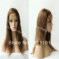Free Shipping!!Fashional Malaysian Virgin Human Hair Color#4 Natural Straight Glueless Full Lace Wigs with Baby Hair