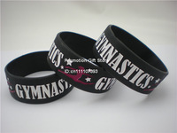 "Gymnastics Wristband, Silicon Bracelet, Debossed, 1"" Wide band, Black, 50PCS/Lot, Free Shipping"