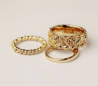 Sheegior 2014 New Fashion cool Design 3 pieces a lot golden rose crown women rings set wholesale Free shipping !