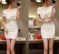 2013 autumn new fashion women clothing 91 slit neckline bow dress one-piece dress white