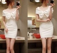 2013 autumn new fashion women clothing 91 slit neckline bow dress one-piece dress white  free shipping