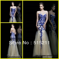 Royal Blue Embroidery Sweetheart Champagne Tulle Mermaid Prom Dresses 2014 New Party Evening Gowns Vestidos Formales