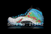 "FOAMPOSITE 1 PRM ""WEATHERMAN""- White/Current Blue-Flash Lime Style #: 575420-100 air basketball shoes fast shipping"