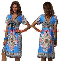 Free Shipping 2013 Fashion Retro 1960s 1970s Vintage Paisley Printed V Neck Hippie Boho Summer Dress Women Beach Dress 4178