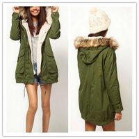 Free Shipping 2014 Fashion Women Thicken Fleece Warm Winter Coat Zip Hooded Parka Overcoat Long Jacket 3674
