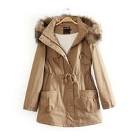 2014 NEW European Winter lady Detachable cap cotton padded coat,women's long 3 Color cotton coat,fashion wear coat,M L XL