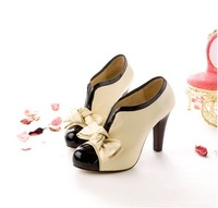 Free Shipping 2013 New Arrival Fashion Sexy Women PU Bow Pump High Heel Shoes Platforms Ankle Boots Beige