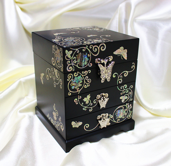 Mother of pearl lacquer scrinshaw wool black three layer jewelry box fashion classical multi layer cabinet