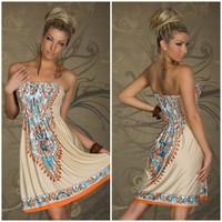 Plus Size Fashion Retro Vintage Paisley Print Off The Shoulder Hippie Boho Summer Mini Dress Women Casual Strapless Dress 4199