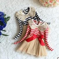 4 pcs 2014 Hot sale spring dress sequins collar stripe lace cute princess dress for girls ZM296